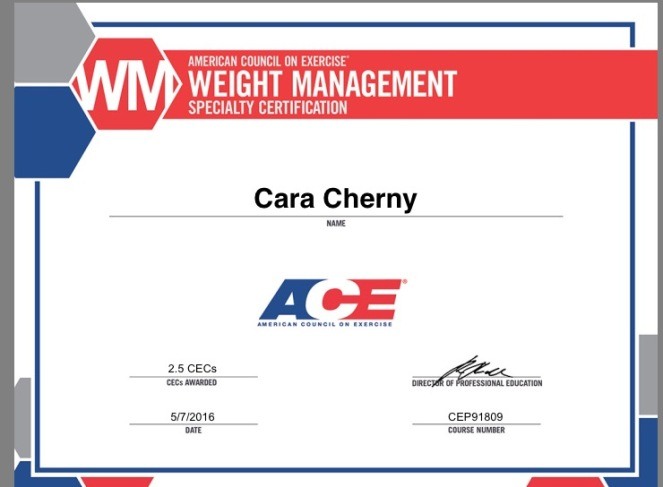 ace weight management specialist certification – get in gear